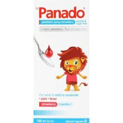 Panado Paediatric Syrup Strawberry Alcohol & Sugar Free 100ML