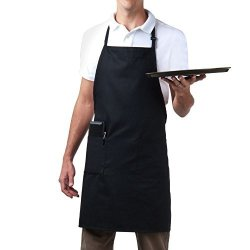 Bib Aprons-mhf BRAND-1 Piece-new Spun Poly-commercial Restaurant Kitchen- Adjustable-full LENGTH-3 Pockets Black