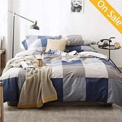 Latest Arrivalplaid Duvet Cover Queen Cotton Geometric Duvet Cover Full Checker Splicing Comforter Cover Navy Duvet Cover Home B