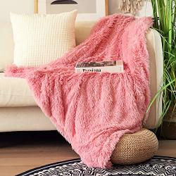 """Decorative Extra Soft Faux Fur Throw Blanket 50""""X60"""" Solid Reversible Fuzzy Double Layers Lightweight Long Hair Shaggy Blanket Fluffy Cozy Plush Fleece Comfy Microfiber"""