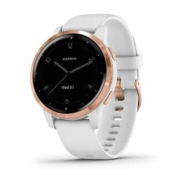 Garmin V Voactive 4S Smaller-sized Gps Smartwatch Features Music Body Energy Monitoring Animated Workouts Pulse Ox Sensors And More Rose Gold With White Band
