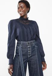 Vero Moda Dawn Long Sleeve Midi Shirt - Navy