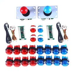 Amatek LED Arcade Diy Parts 2X Zero Delay USB Encoder + 2X 8 Way Joystick + 20X LED Illuminated Push Buttons For Mame Jamma