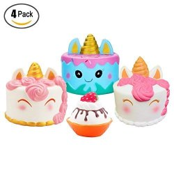 Magneticspace 4PACK Squishies Toy Jumbo Narwhal Squishy Cake Kawaii Cute Unicorn Mousse Ice Cream Scented Squishies Slow Rising
