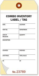 """MyAssetTag Combo Cardstock Ncr 2-PART Tag With Numbers And Adhesive 100 Tags Pack 3.125"""" X 6.25"""
