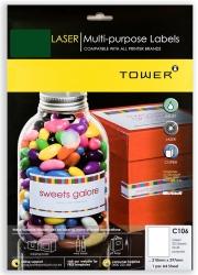 Tower C106 Multi Purpose Inkjet-laser Labels - Green - Pack Of 25 Sheets
