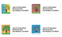 Artistic Labels Tree In Four Seasons Assorted Set Of 215 Sheeted Address Labels