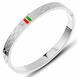 Trozk Fashion Classic Lovely Brilliance Bracelet - Titanium Steel Red And Green Bracelets Men And Women SILVER-6.7 In