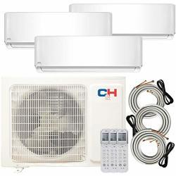 Cooper And Hunter Multi Zone Tri 3 Zone 12000 12000 18000 Ductless MINI Split Air Conditioner Heat Pump Full Set Wifi Ready