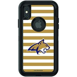 Fan Brander Ncaa Black Phone Case With Stripes Design Compatible With Apple Iphone Xr And With Otterbox Defender Series Montana State Bobcats