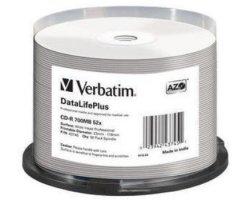 Verbatim - 700MB - Cd-r 52X - Professional Wide Printable Spindle - Pack Of 50
