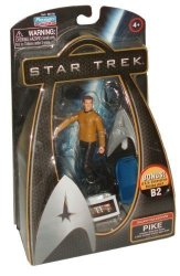 Star Trek Movie Series Galaxy Collection 4 Inch Tall Action Figure - Pike With Utility Belt Phaser And Silver Starfleet Emblem Figure Stand Plus