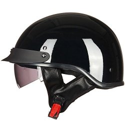 ILM Motorcycle Half Helmet With Integrated Sun Visor Quick Release Buckle Dot Approved M Gloss Black