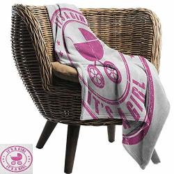 """Warmfamily Reversible Blanket Gender Reveal Grunge Its A Girl Retro Stamp With Baby Carriage Artistic Newborn Icon Image Bedroom Warm 60"""" WX60 L"""