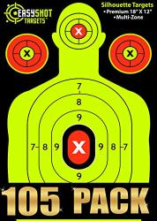 Easyshot 105-PACK Silhouette Shooting Targets 18 X 12 Inch. Shots Are Easy To See With The Neon Yellow & Red Colors. Thick Paper