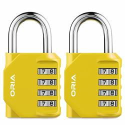 Oria Combination Lock 4 Digit Combination Padlock Set Metal And Plated Steel Material For School Employee Gym Or Sports Locker Case Toolbox Hasp Cabinet