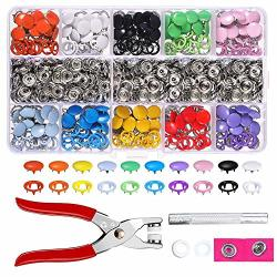 Yakamoz 200 Sets Snap Fasteners Kit Metal Buttons With Snap Pliers For Sewing Clothing Diapers Bibs Rain Coat Crafting