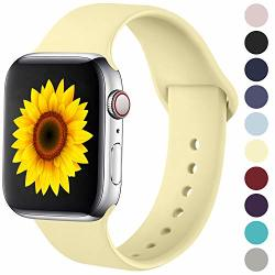 Ilopee Sweat-proof Sport Band Compatible With Apple Watch 42MM 44MM Series 5 4 3 2 1 Light Yellow S m