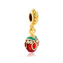 Pand Ra Charms Lovelyjewelry Easter Day Red Green Faberge Egg White Clear Crystal Golden Spacer Beads For Bracelets