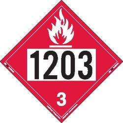 Labelmaster ZEZ21203 Un 1203 Flammable Liquid Hazmat Placard E-z Removable Vinyl Pack Of 25