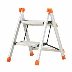 Wwl- 2-STEP Ladder Aluminum Folding Step Stool Portable Stepladders Anti-slip Wide Pedal Lightweight And Sturdy Load 100 Kg
