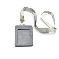 Fujiyuan Silver Office Vertical Id Card Badge Holder Vertical Imitation Leather Strap Lanyard